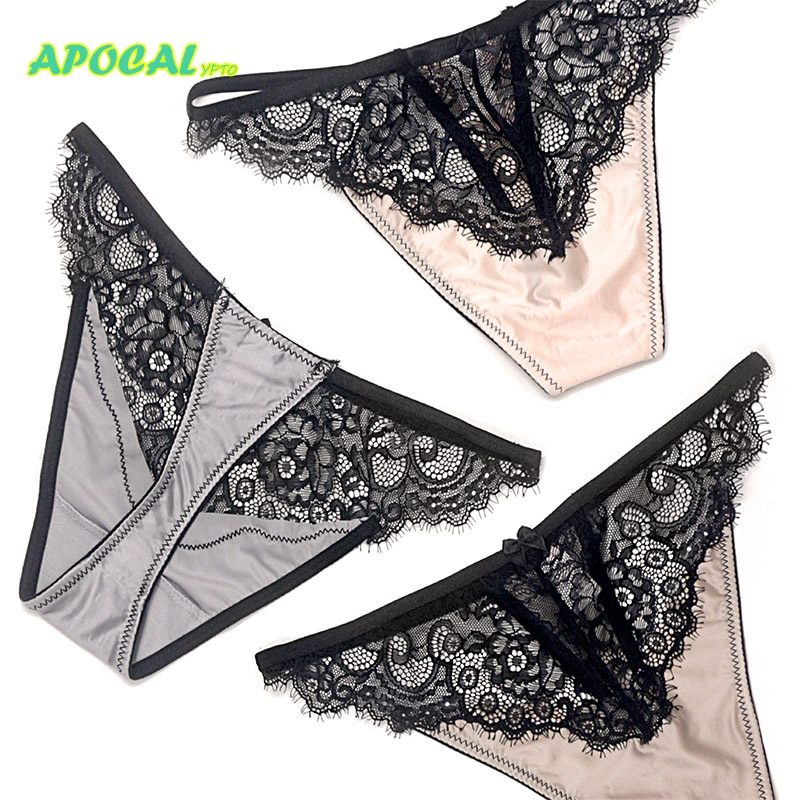 APOCAL Lace Silk Sexy Female Underwear Women Thong Transparent Womens Panties Hollow Seamless G string T back Lingerie Tanga