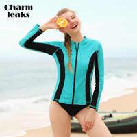Charmleaks Frauen Lange Sleeve Zipper Rashguard Badeanzug Surfen Top Rash Guard Zipper UPF50 + Laufschuhe Shirt Radfahren Shirt Bademode