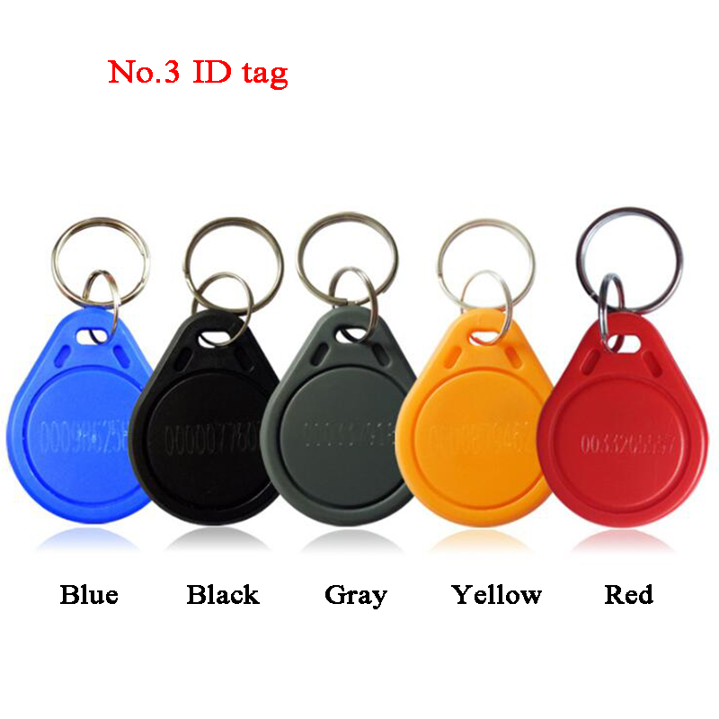 100pcs No.3 ID Tag RFID Key 125Khz TK4100 Contactless Key Token Keyfobs Badges Intercom Door Phone Key Access Control Car Park
