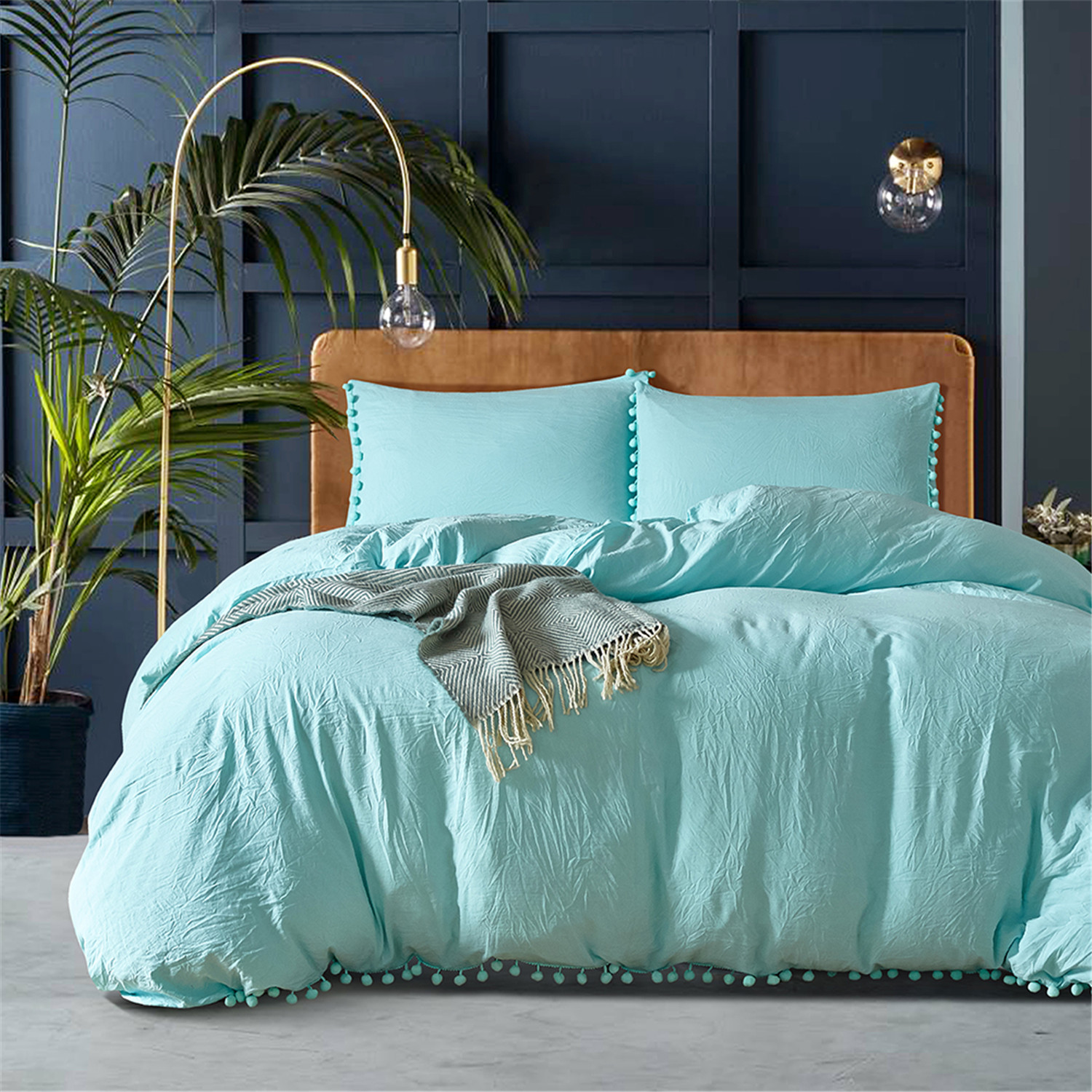 Lanke Solid Color Cotton Bed Bedding,King Queen Size Bedding Sets,Duvet Cover Bed Sheet Pillowcases,Bed Linen Cotton