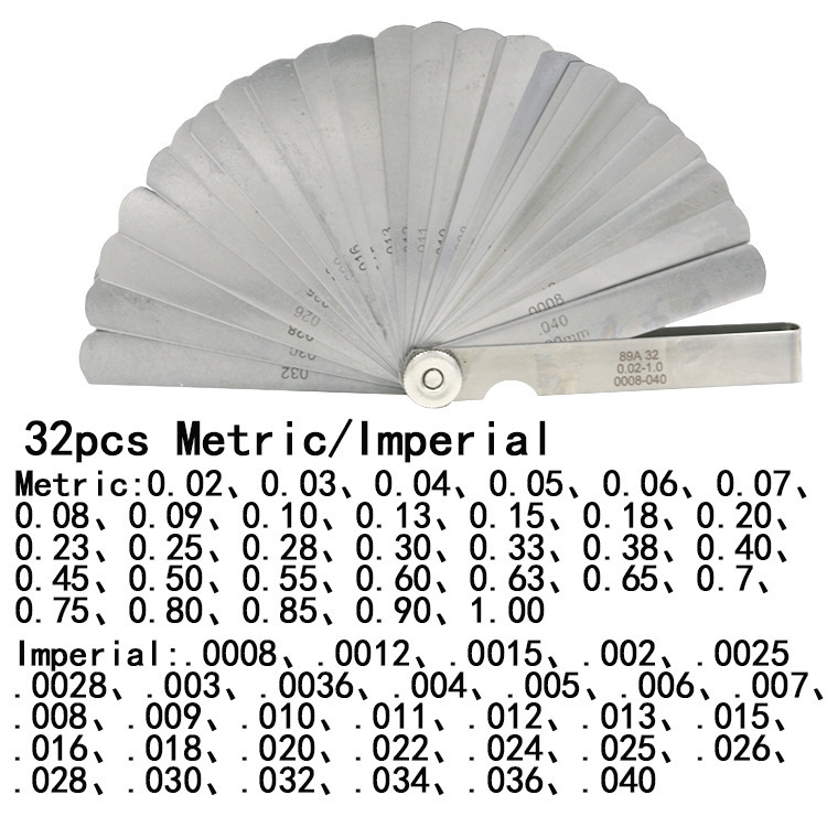 32 лезвия, измерительный щуп, метрический зазор, наполнитель 0,02-1 мм/0,0008-0,040 дюйма, измерительный инструмент для регулировки клапана двигател...