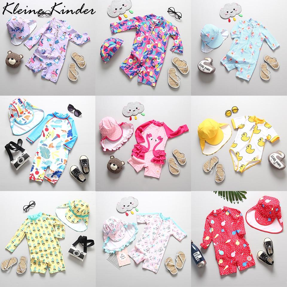 Baby Girl Swimwear UPF50 One Piece Long Sleeves UV Girls Swimsuit Pineapple Flamingo Child Bath Clothes Children's Swimming Suit