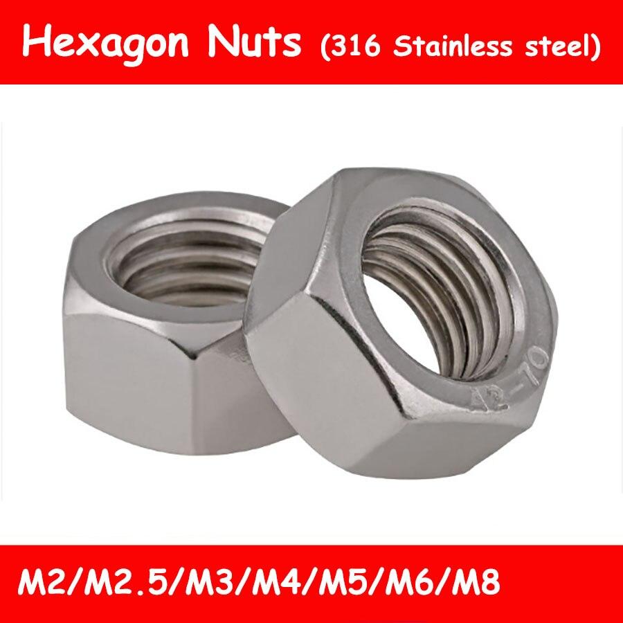 Acero Niquelado, M10 acero niquelado Tuercas hexagonales de 25 piezas DIN 934