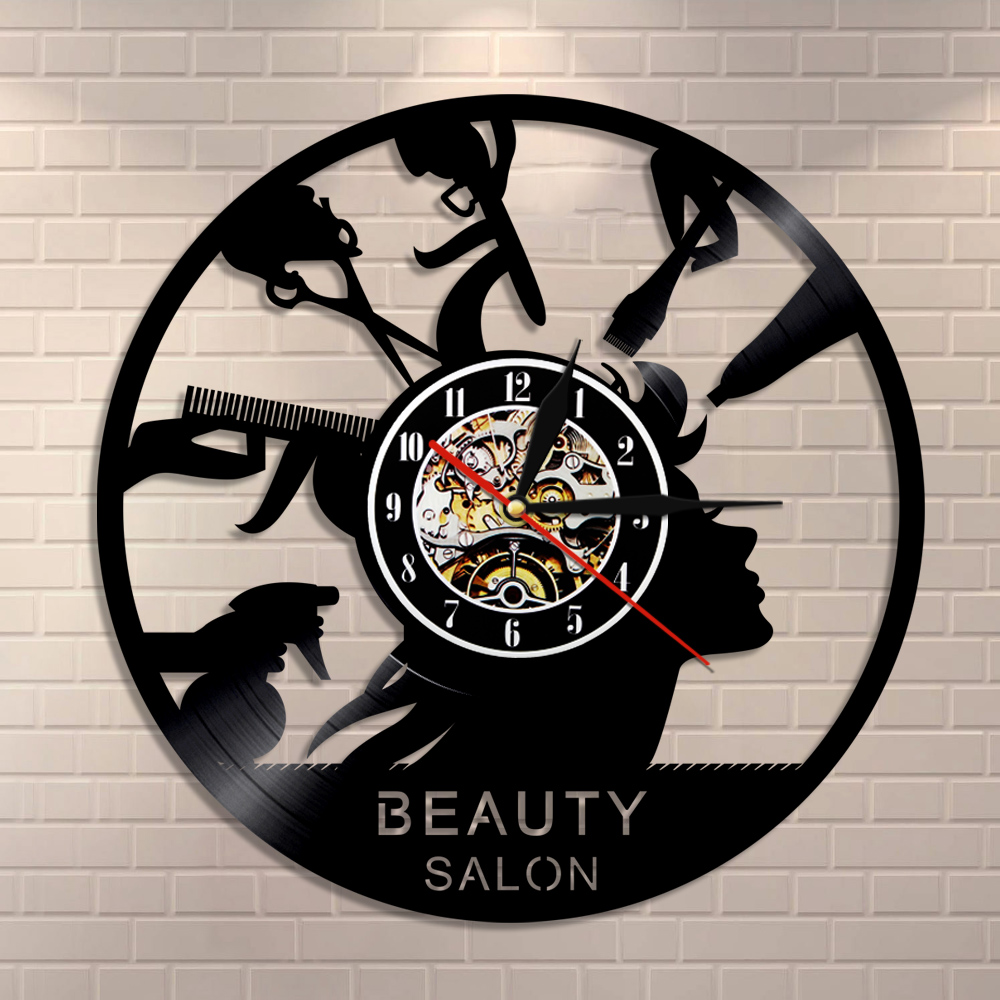 Beauty Salon Shop Decor Makeup Wall Clock Made Of Vinyl Record Hairdresser Modern Wall Clock Hair Salonv Gifts For Hairdresser
