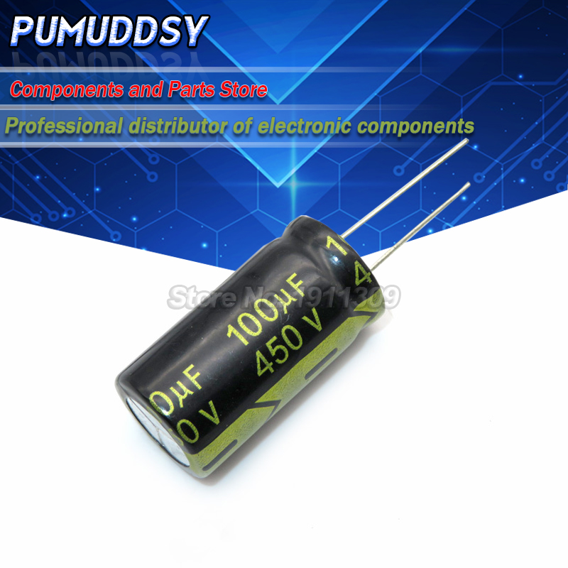 5 pces higt qualidade 450v100uf 18*30mm 100uf 450v capacitor eletrolítico