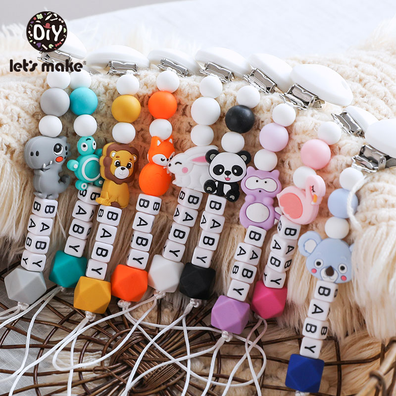 Let's Make 1pc Pacifier Chain Mini Animals Silicone Teether Rodent Nipple Holder Personalized Alphabet Beads For Children's Gift