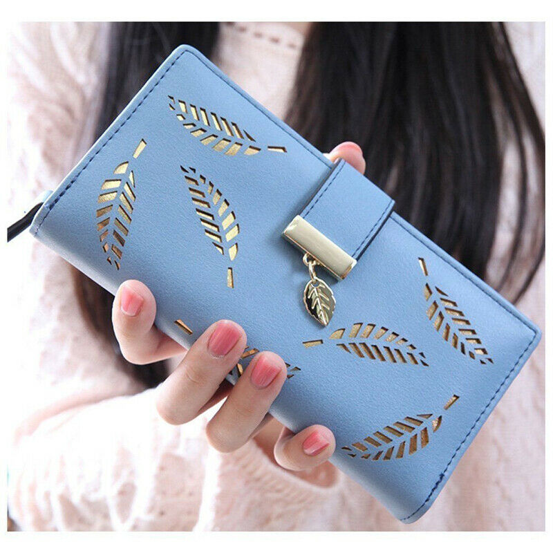 Women PU Leather Vintage Retro Wallet Purse Long Length Card Holder Clutch Solid Hollow Out Standard Wallets