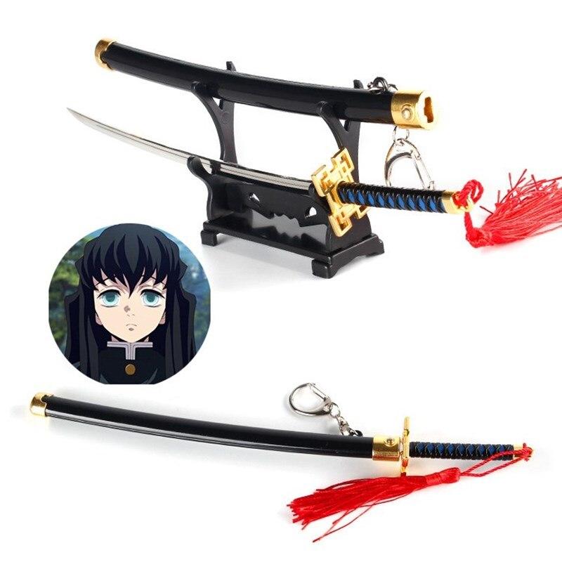 Демон убийца плита двери древесного угля Jielang Ножи ключ цепочка с мечом оружие Модель сплава Keyring призрак из лезвие цепочка для ключей