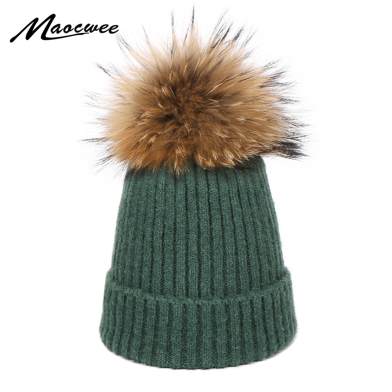 Beanies Cap Children Baby PomPon Hat Autumn Winter Warm For Women Girl 's Cap Knitted Thick Skullies Natural Fur High Quality