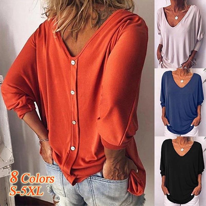Europeu e americano cross-border roupas femininas gola v bat 3/4 manga voltar botão camiseta feminina em estoque de algodão longo