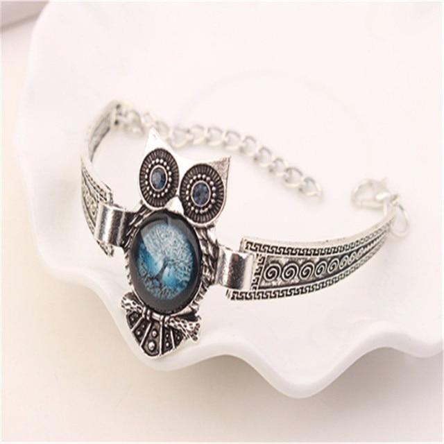 Boho Female Crystal Jewelry Set Charm Silver Color Dangle Earring For Women Vintage Owl Bracelet Wedding Chain Necklace 3