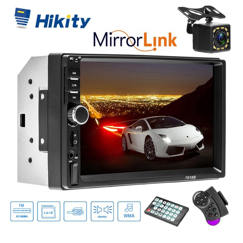 Hikity 7 HD Автомобильный Радио сенсорный экран поддержка зеркальная связь Bluetooth USB SD с рулевым колесом управление светодиодами камера