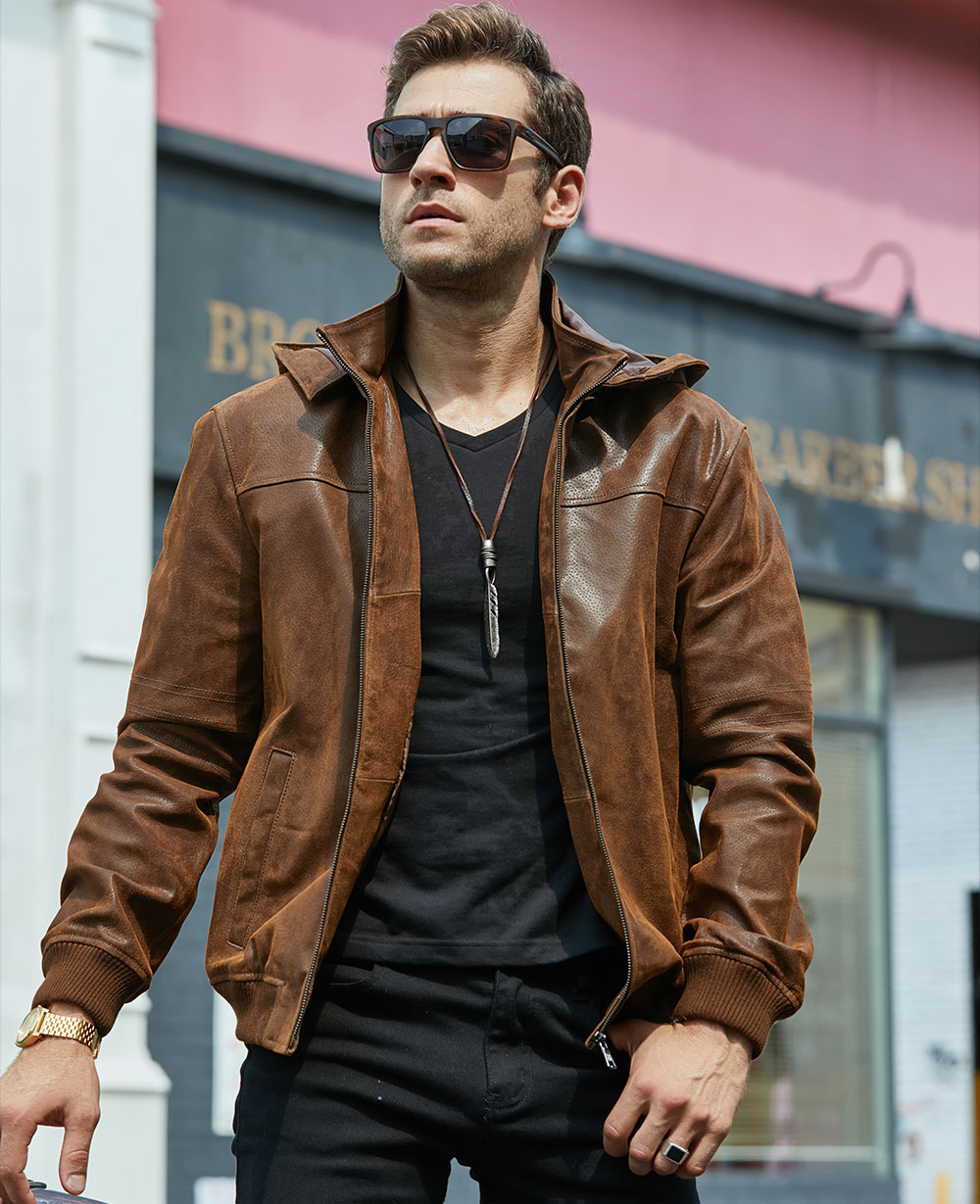 Hc2fc9aa53eaa4409b6bb25a78c9c93fcH New Men's Winter Jacket Made Of Genuine Pigskin Leather With A Hood, Pigskin Motorcycle Jacket, Natural Leather Jacket