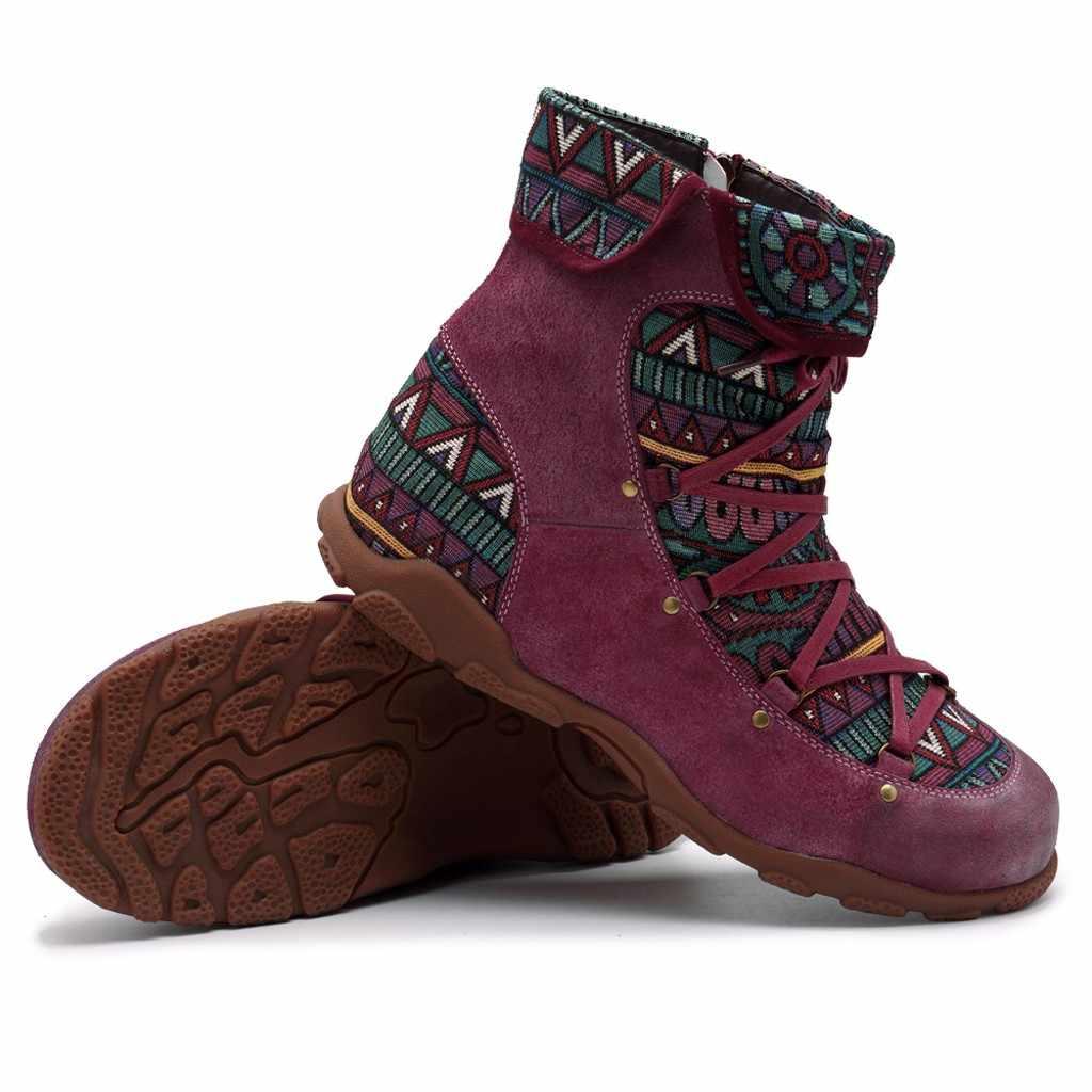 2019 yeni kadın botları kış Retro eğlence nakış dikiş ayak bileği bağcığı botları çapraz bağlı rahat kadın ayakkabı düz ayakkabı