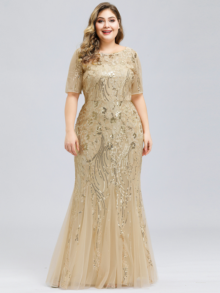 Evening-Dresses Short-Sleeve Party-Gowns Sequined Ever Pretty Mermaid Lange Sexy Plus-Size