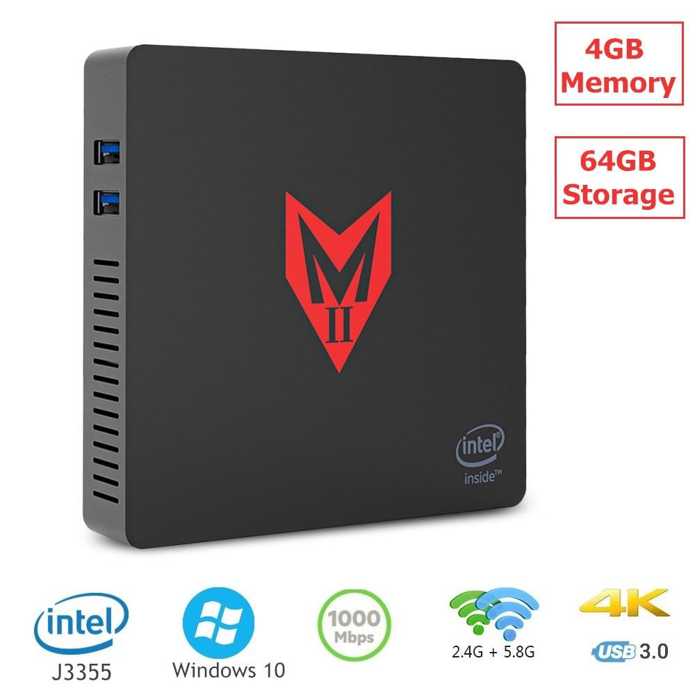 MII-V Mini PC Intel Apollo Lake J3355 Windows 10 4GB RAM 64GB ROM VGA HDMI double écran affichage BT 4.0 1000Mbps USB 3.0 double WiFi