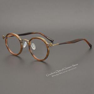 Японские очки ручной работы Ретро Стиль Круглая оправа очки оправа для мужчин и женщин Близорукость оптика титан ультра светильник оправа ...