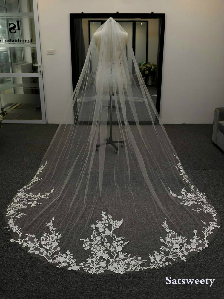 High End Customized Soft Tulle Woman Chapel Bridal Veils White/Ivory Veil For Bridal Appliques Edge Wedding Accessary