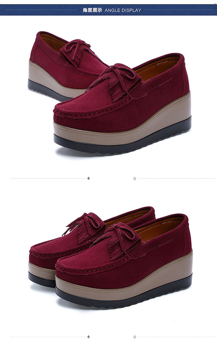 Women Leather Suede Plush Slip on Sneakers Chaussure Tassel Loafers Moccasins Shoes