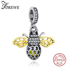 Forewe 2019 Fashion 925 Sterling Silver Bead Kubik Zircon Lebah Madu Liontin Fit Gelang DIY Sterling Silver Perhiasan Hadiah(China)