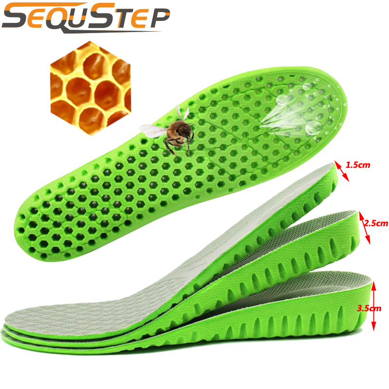 MCH03 Men Women Height Increase Insole Breathable Honeycomb Heel Lift Taller Increase Height Shoe Pad Cushion Insoles
