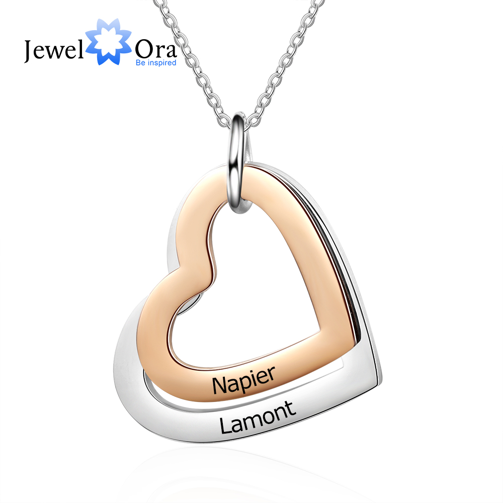 Personalized Rose Gold Color Stainless Steel Heart Pendant Necklace Custom Engraving Name Necklace Gift for Girlfriend(NE103631)