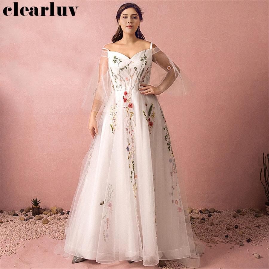 Long Sleeves Evening Gown Strapless Robe De Soiree T431 2019 Plus Size Spaghetti Strap Women Party Dresses Elegant Evening Dress