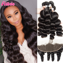 Alibele 페루 루스 웨이브 3 번들 (정면 폐쇄 포함) Remy Human Hair Weave Extension Pre prelucked Frontal With Bundle