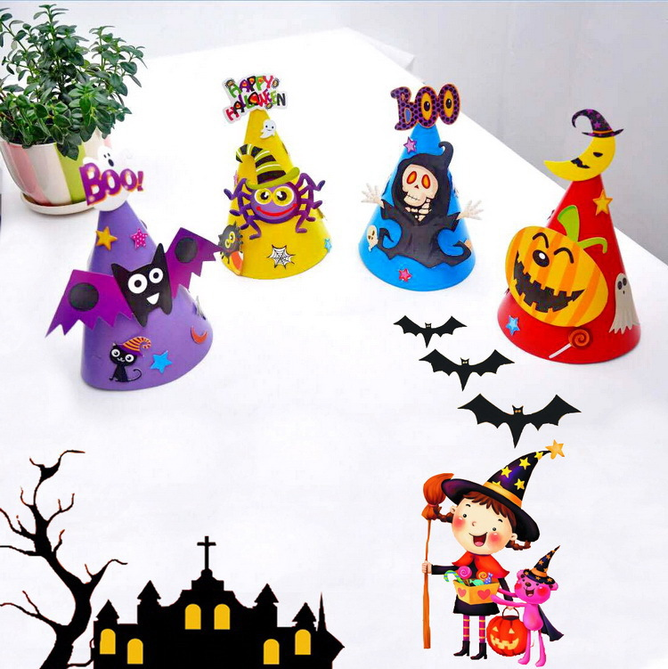 8pcs Halloween Supplies, Toy Hats, Paper Cartoon Hats, Kids Toys, Dress Up