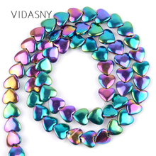Multicolor Love Heart Hematite Natural Round Stone Beads For Jewelry Making Diy Bracelet Necklace 6*5mm 8*6mm Loose 15