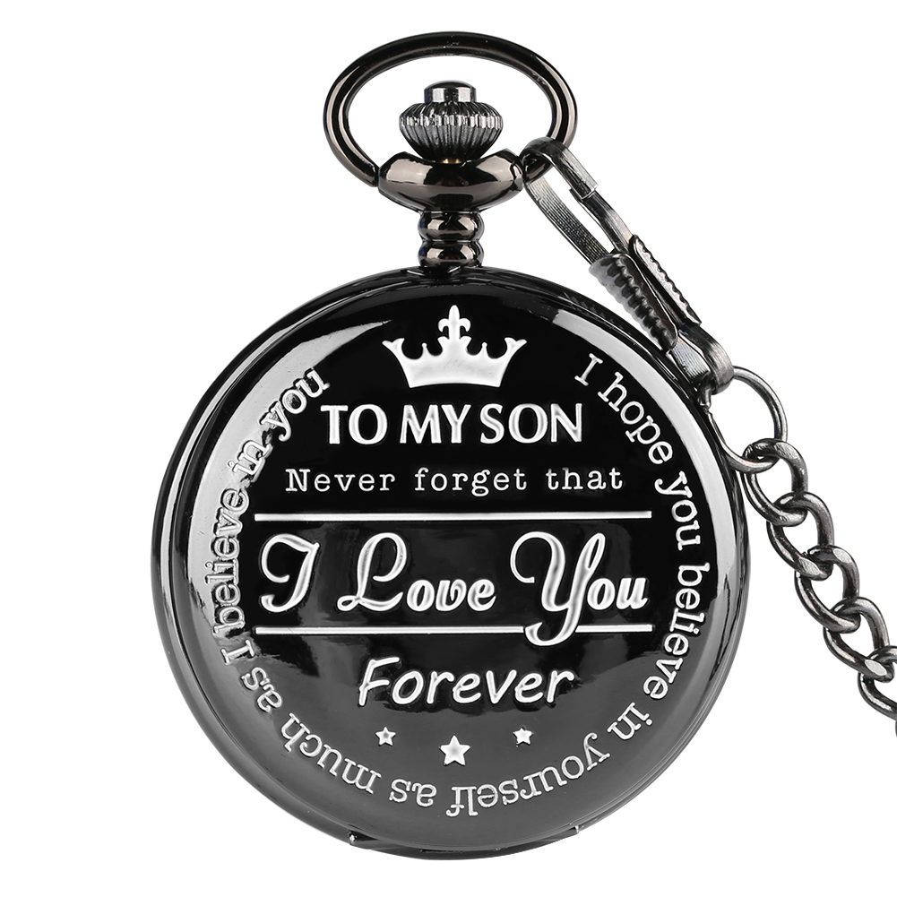 Hot Sale Black/Silver/Gold TO MY SON Quartz Pocket Watch Casual Roman Numbers Steampunk Clock Fob Pendant Watches Dropshipping