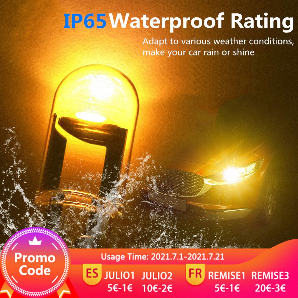 2pcs W5W T10 LED Lamp Car Bulb Epoxy Resin Cob 12V 6000K 7 Colors Wedge License Plate Lamp Dome Indicator Reading Light White 2