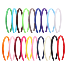 0.5/1cm Solid Candy Color Satin Headbands Girls Adult Kids Hair Hoop DIY Resin Hairbands Ribbon Covered Plastic Accessories