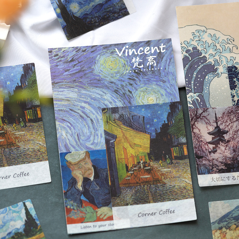 JIANWU 40sheets Famous Painting Stickers Van Gogh Oil Painting Pattern  World Masterpiece Cool Bullet Journal Sticker Stationery