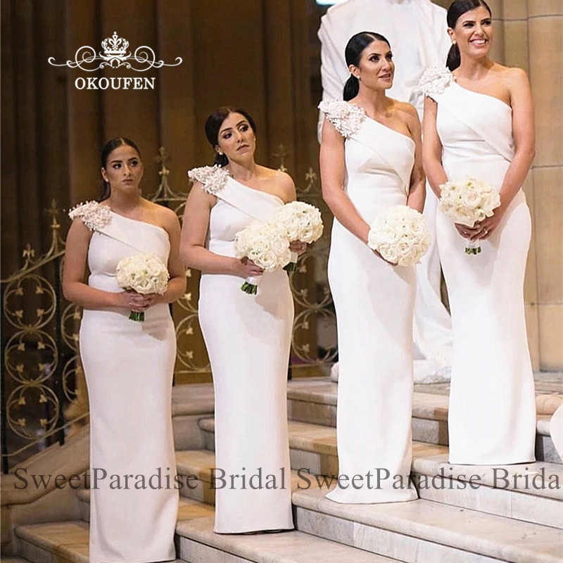 White One Shoulder Bridesmaid Dresses With Appliques Customize Long Mermaid Party Wedding Guest Dress For Women