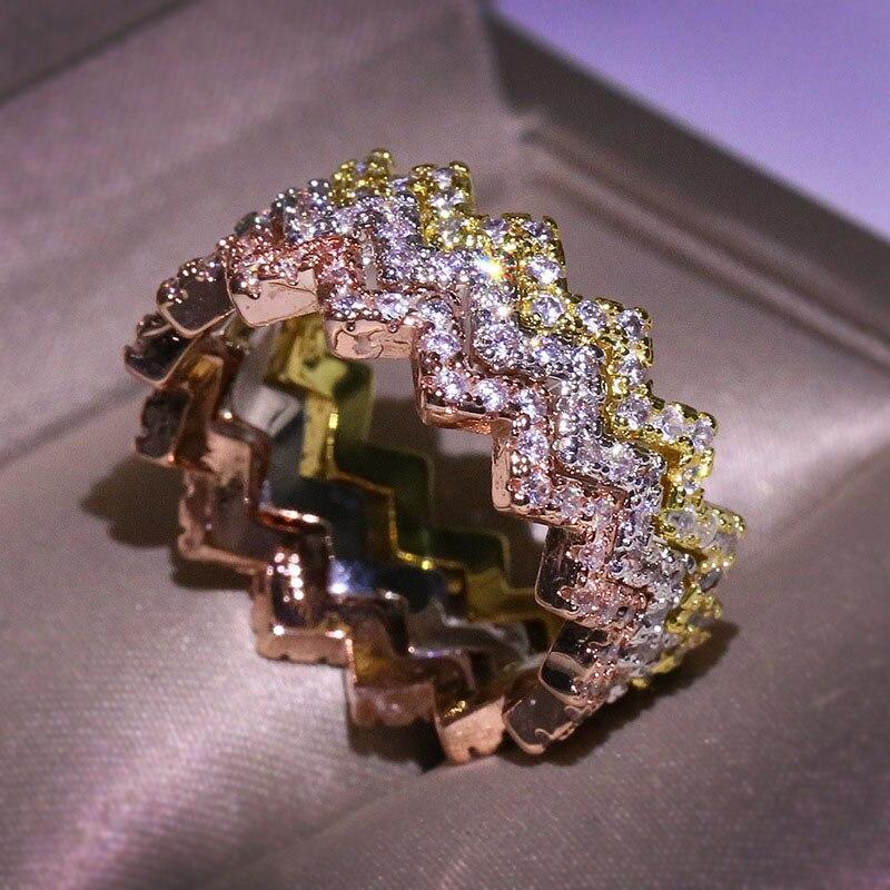 Anillos con forma de rayo para mujer, diseño insólito indefinido, anillo de onda Flash de Color dorado de Hip Hop, accesorios de dedo, joyería KAR190