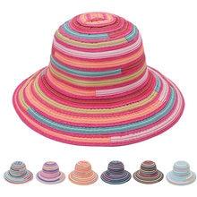 Women Bucket Hat Rainbow Stripe Cloth Fisherman Caps Flat Top Hats
