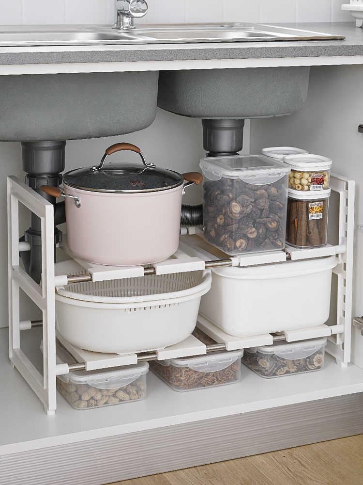 expandable under sink organizer kitchen multifunctional storage rack with removable shelves pipes bathroom under sink shelf