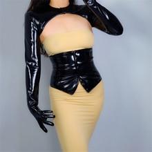 2020 NEUE LATEX BOLERO HANDSCHUHE Glanz Leder Faux Patent Schwarz Top Jacke Cropped Shrug Frauen Lange Leder Handschuhe WPU205