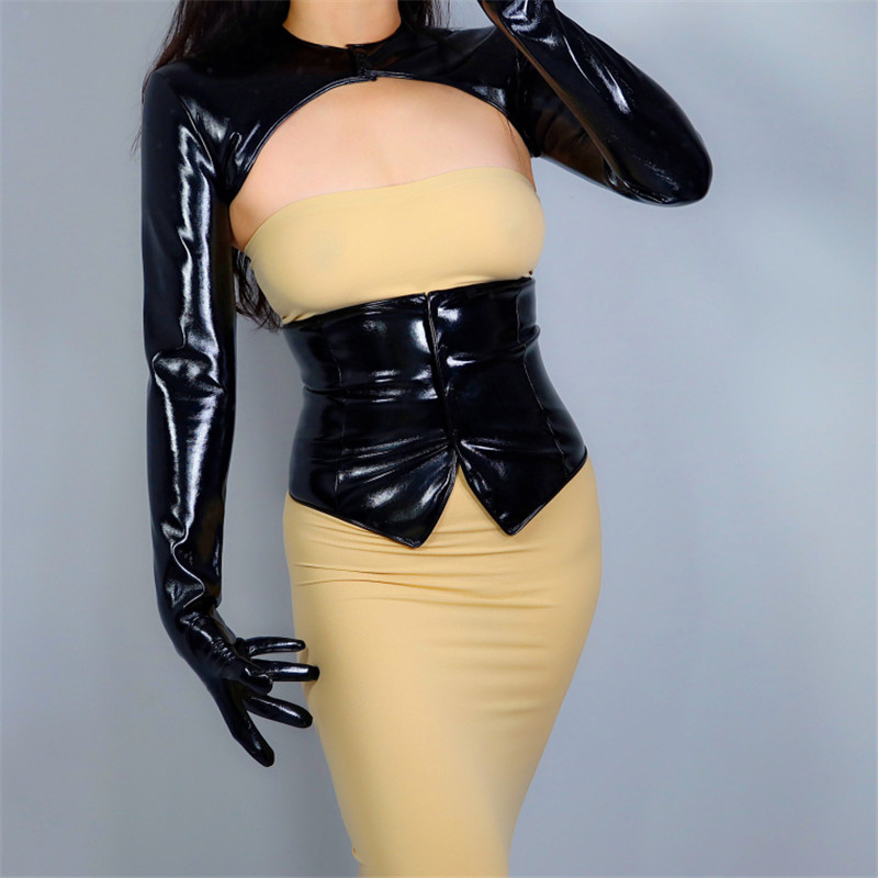 2020 NEW LATEX BOLERO GLOVES Shine Leather Faux Patent Black Top Jacket Cropped Shrug Women Long Leather Gloves WPU205