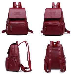 Image 4 - 2019 kobiet skórzane plecaki wysokiej jakości panie Bagpack luksusowy projektant dużej pojemności dorywczo Sac Dos dziewczyna Mochilas