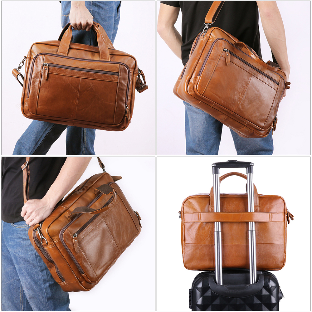 2020 High Quality Briefcase For Men Leather Travel Handbag Genuine Leather Busniess Messenger Bag Brand Shoulder Travel Bags