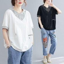 Han – T-shirt à capuche imprimé, polaire fine, grande couverture d'été, rayures d'épissure, lettres imprimées