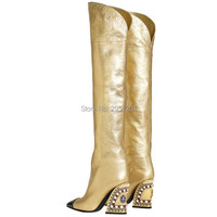 Luxury Wedge Boots Gold High Heel Boot Woman Knee Winter Fur Boots Ladies High Heel Shoes Women Shoe Diamond Pearl Boots