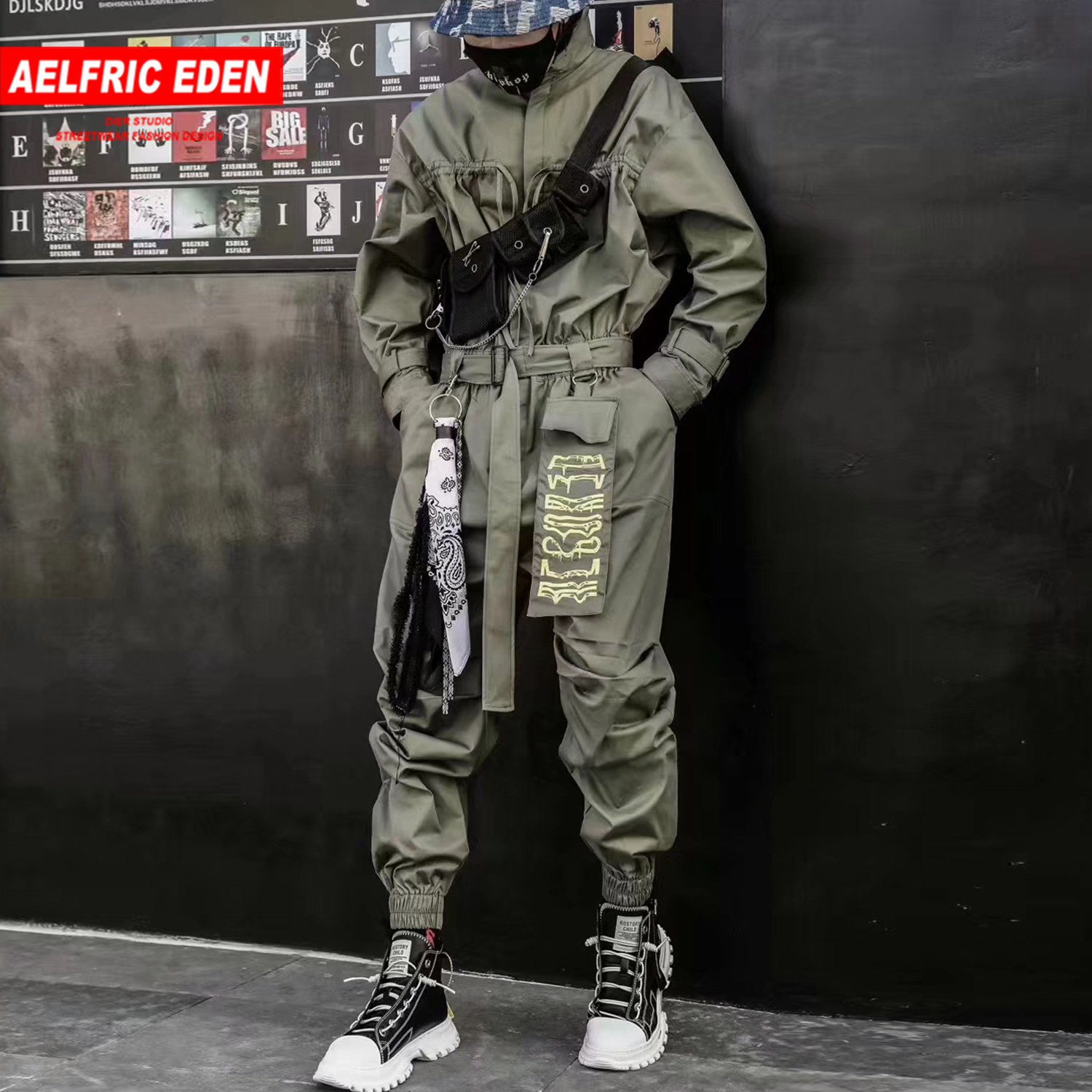 Aelfric Eden 2020 Hip Hop Streetwear Jumpsuits Men Ribbon Embroidered Cargo Pants Long Sleeve Rompers Joggers Techwear Men