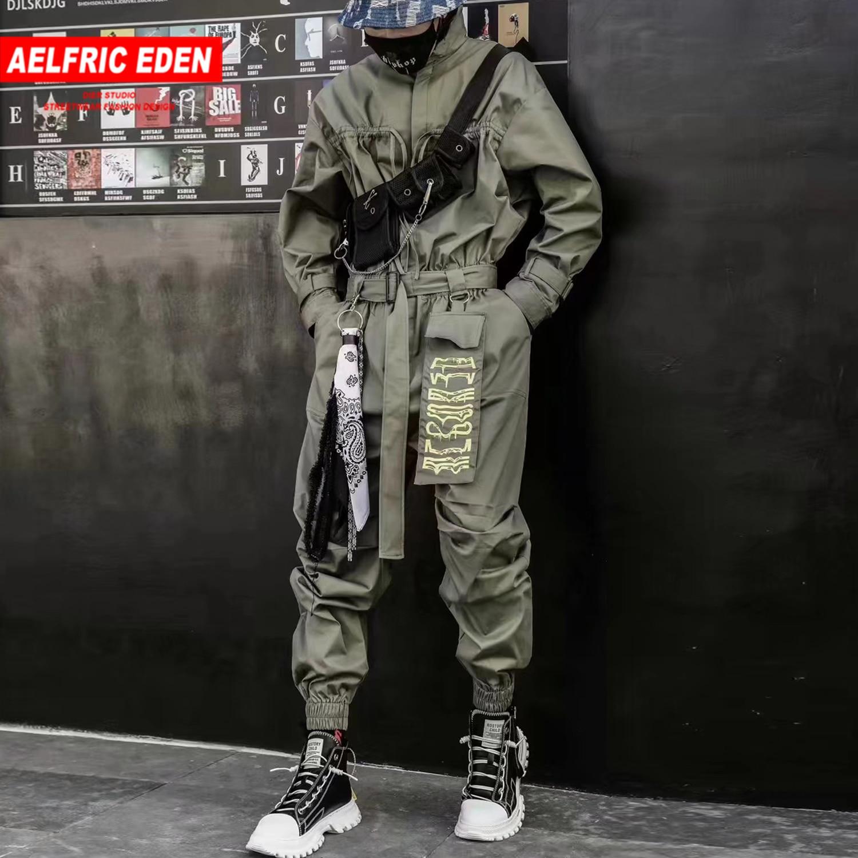 Aelfric Eden 2020 Hip Hop Streetwear Jumpsuits Men Ribbon Embroidered Cargo Pants Long Sleeve Rompers Joggers Techwear Men