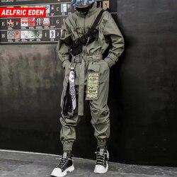 Aelfric Eden 2020 Hip Hop Streetwear Overalls Männer Band Bestickte Cargo Pants Lange Hülse Strampler Jogger Techwear Männer