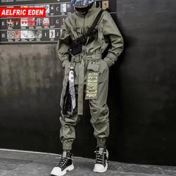 Aelfric Eden 2020 Hip Hop Streetwear Tute E Tute Da Palestra Uomini Nastro Ricamato Cargo Pantaloni A Manica Lunga Body E Pagliaccetti Jogging Techwear Uomini