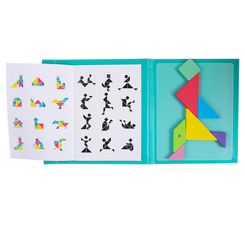 Kids Adults Jigsaw Travel Game Challenge IQ Colorful Educational Book Early Learning Gift Magnetic Tangram Wooden Toy Montessori