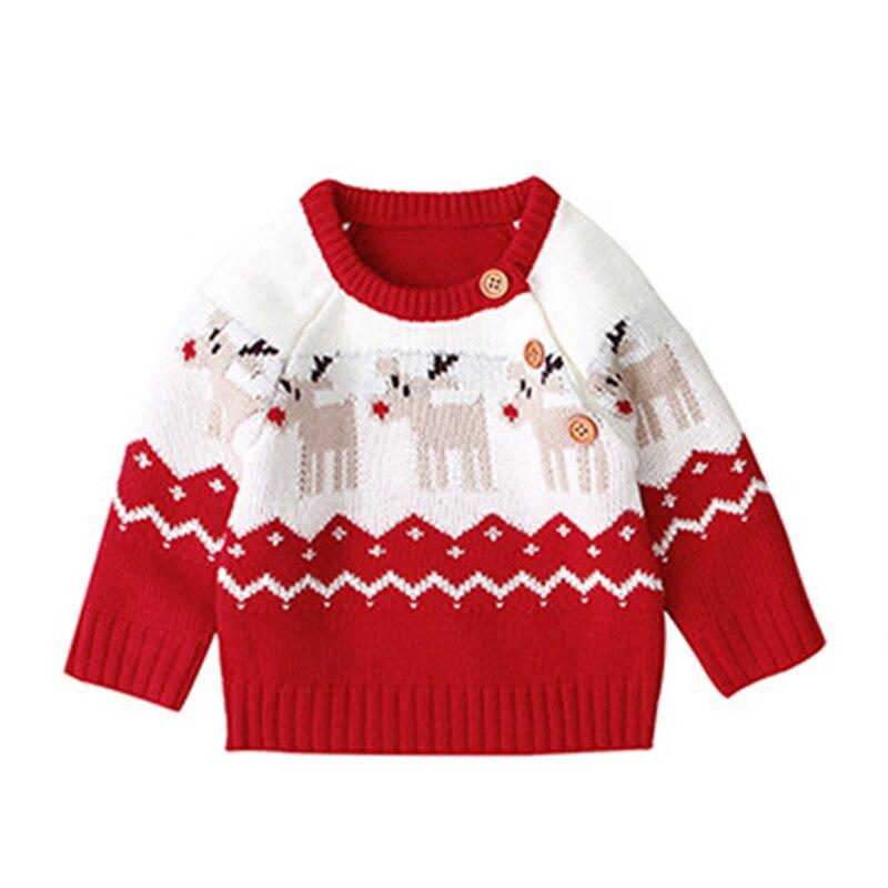 2020 Autumn Winter Boy Girl Christmas Elk Long Sleeve Cartoon Knitted Sweater Boys Girls Sweaters For Baby Girls Kids Sweaters 3